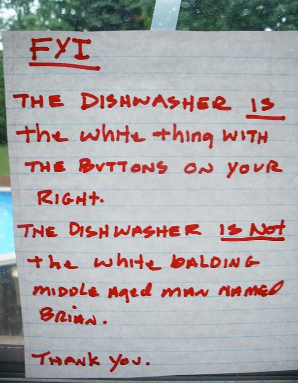 Text - EYI THE DISHNASHER 1s the whte+hing WITH THE BVTTONS ON YOUR RIGHT THE DISHWASHER IS Not he white BALDING mIDole naed man THANK you