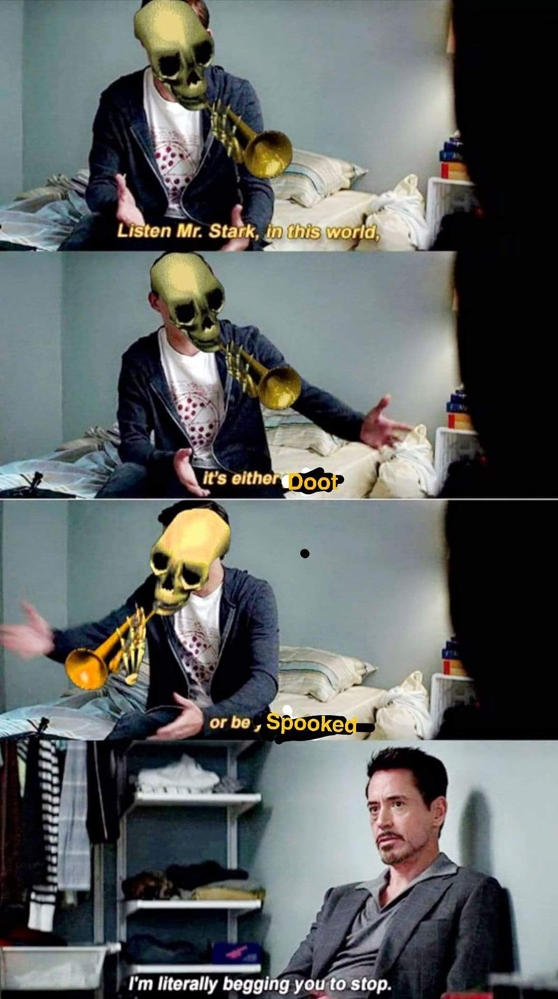 doot or spook please stop meme with Robert Downey Jr.