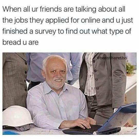 Hide the hurt Harold meme about when all friends are applying for jobs and you took survey to find out what kind of bread you are