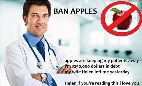 funny memes about doctors wanting to ban apples