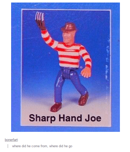meme of Freddy Kruger as Sharp Hand Joe