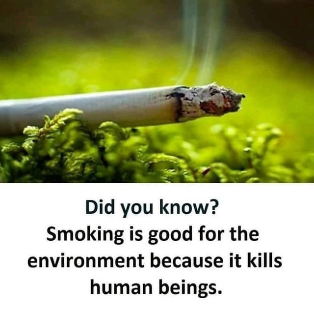 Funny meme about smoking being good for the environment because it kills humans