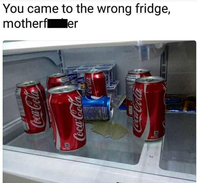 Beverage can - You came to the wrong fridge, motherf er HONE ANC CococaCocca CocaCola OcacaCola