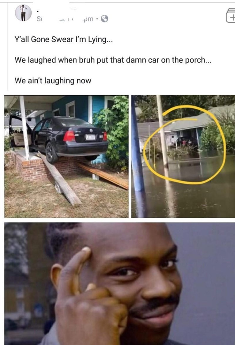 Hair - וד pm Y'all Gone Swear I'm Lying... We laughed when bruh put that damn car on the porch... We ain't laughing now +