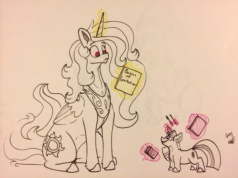 twilight sparkle princess celestia greyscale - 9225125632