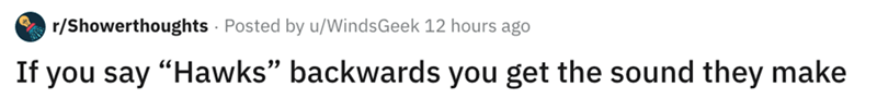 """Text - r/Showerthoughts Posted by u/WindsGeek 12 hours ago If you say """"Hawks"""" backwards you get the sound they make"""