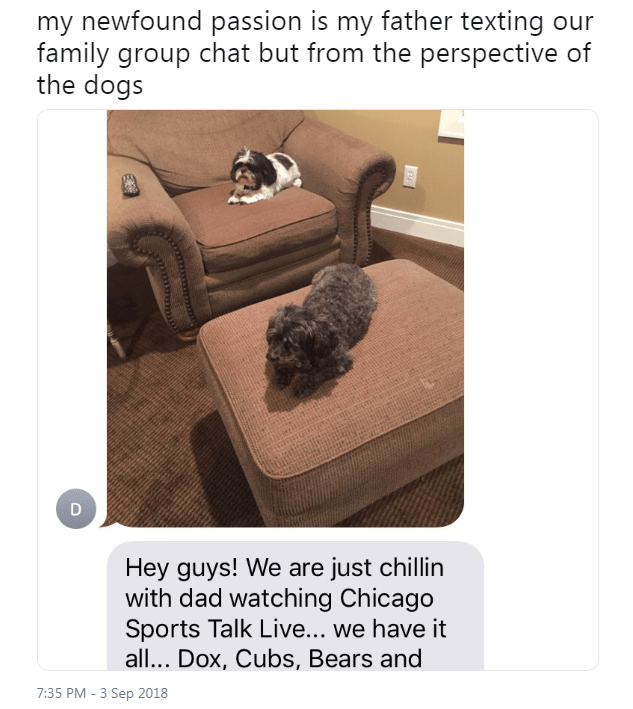 Table - my newfound passion is my father texting our family group chat but from the perspective of the dogs Hey guys! We are just chillin with dad watching Chicago Sports Talk Live... we have it all... Dox, Cubs, Bears and 7:35 PM-3 Sep 2018