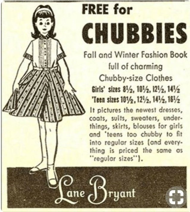 """Pattern - FREE for CHUBBIES Fall and Winter Fashion Book full of charming Chubby-size Clothes Girls sizes 8%, 10%, 12/%, 14 Teen sizes 102, 12%, 14, 16% It pictures the newest dresses coats, suits, sweaters, under- things, skirts, blouses for girls and 'teens too chubby to fit into regular sizes (and every thing is priced the same as regular sizes"""". Bryant €3 ane"""