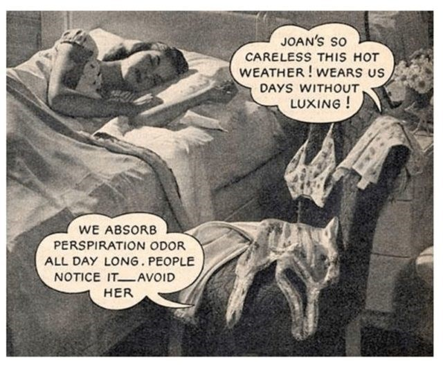 Cartoon - JOAN'S SO CARELESS THIS HOT WEATHER!WEARS US DAYS WITHOUT LUXING! WE ABSORB PERSPIRATION ODOR ALL DAY LONG. PEOPLE NOTICE ITAVOID HER