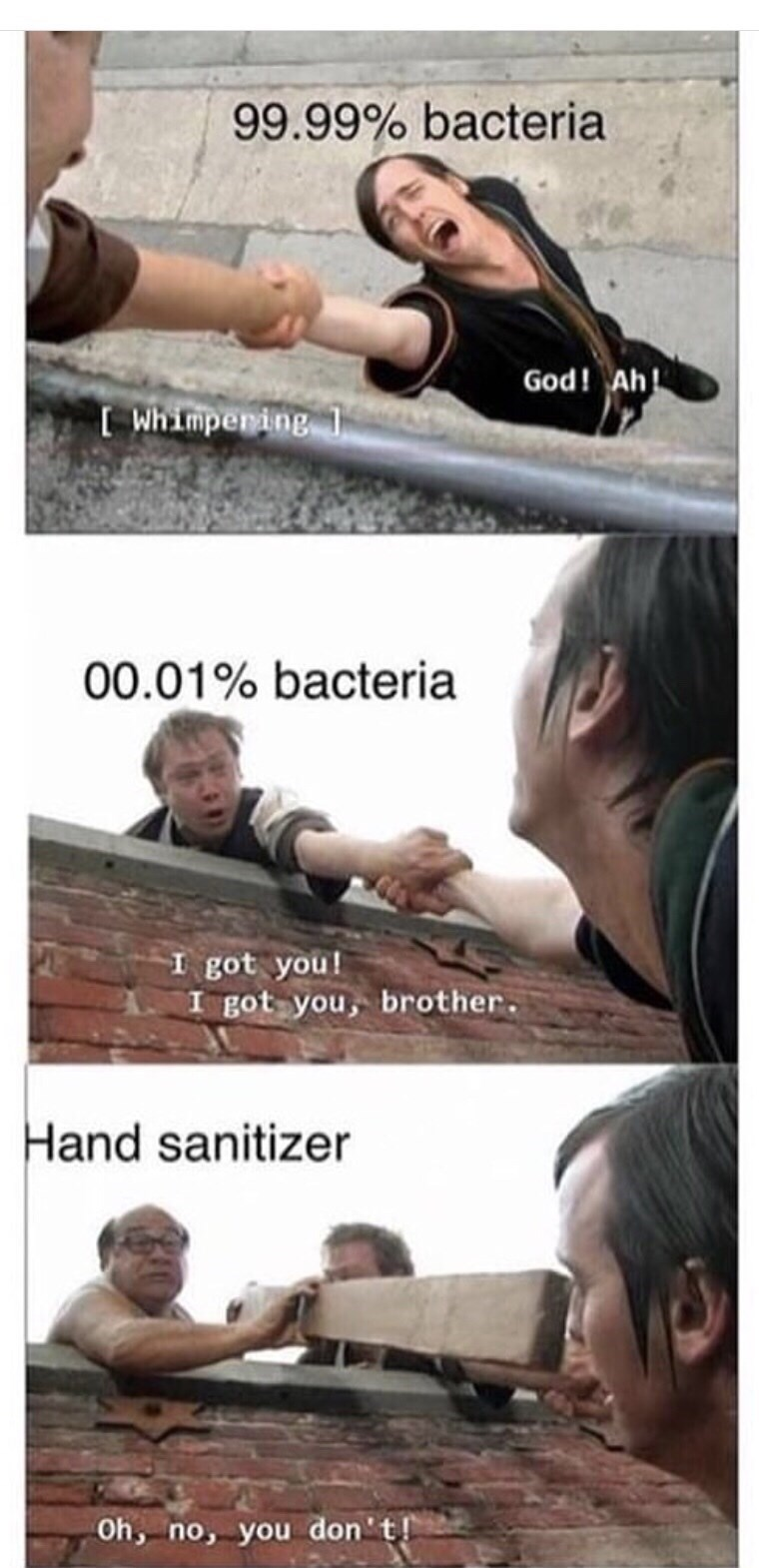 humpday meme about killing 99.9% of germs with scene from Always Sunny