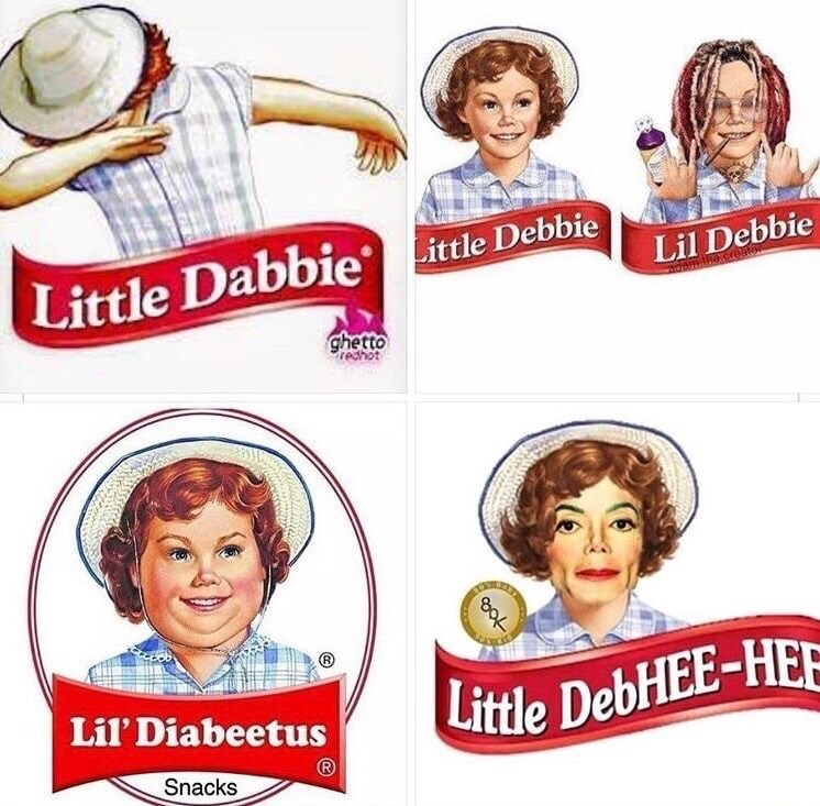 humpday meme with little Debbie photoshopped into different puns