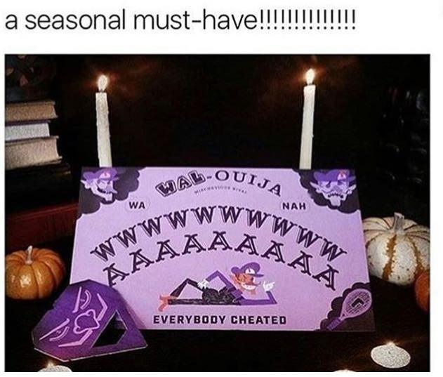 humpday meme of a Ouija board with Waluigi
