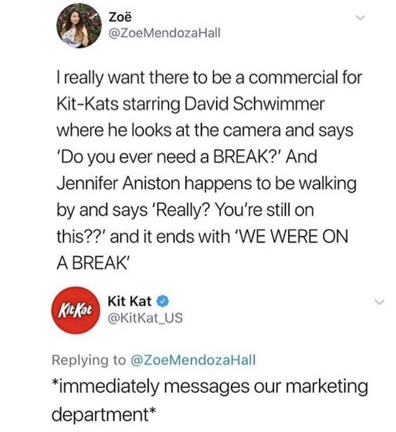 humpday meme about a kit kat commercial starring Ross and Rachel