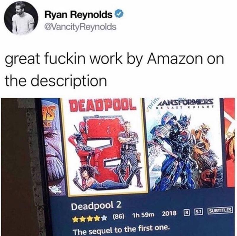humpday meme of Ryan Reynolds tweeting about Deadpool on Amazon