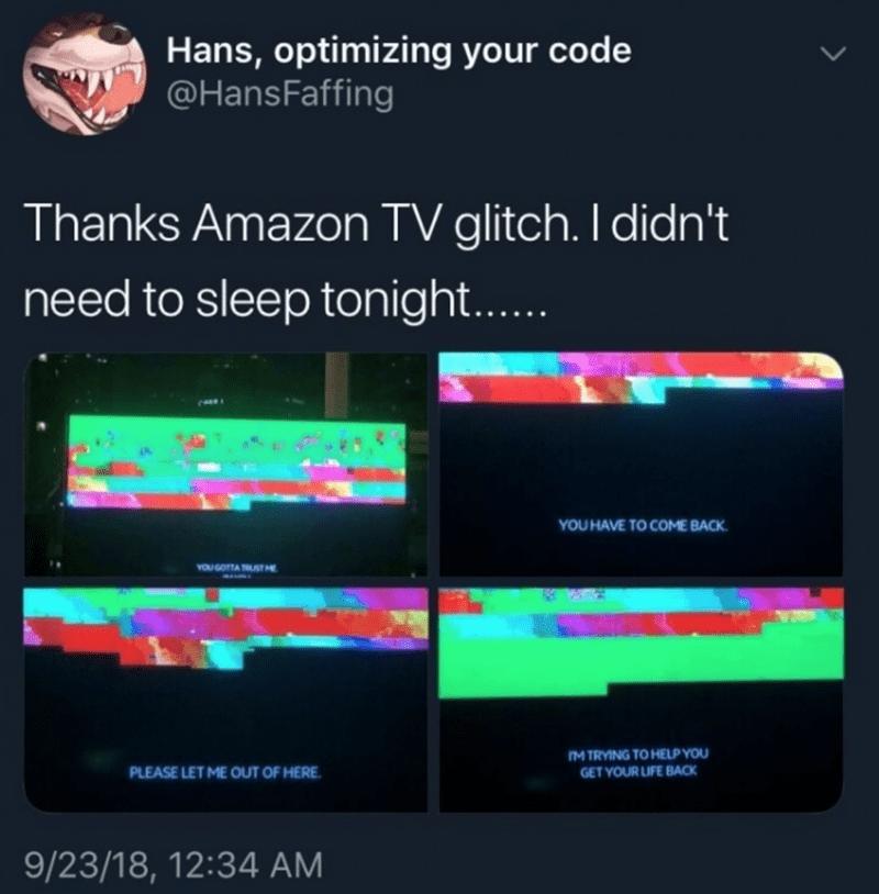humpday meme of a creepy Amazon TV glitching