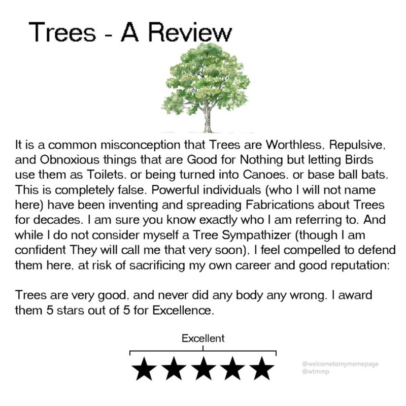 Text - Trees A Review It is a common misconception that Trees are Worthless, Repulsive and Obnoxious things that are Good for Nothing but letting Birds use them as Toilets. or being turned into Canoes. or base ball bats. This is completely false. Powerful individuals (who I will not name here) have been inventing and spreading Fabrications about Trees for decades. I am sure you know exactly who I am while I do not consider myself a Tree Sympathizer (though I am confident They will call me that v