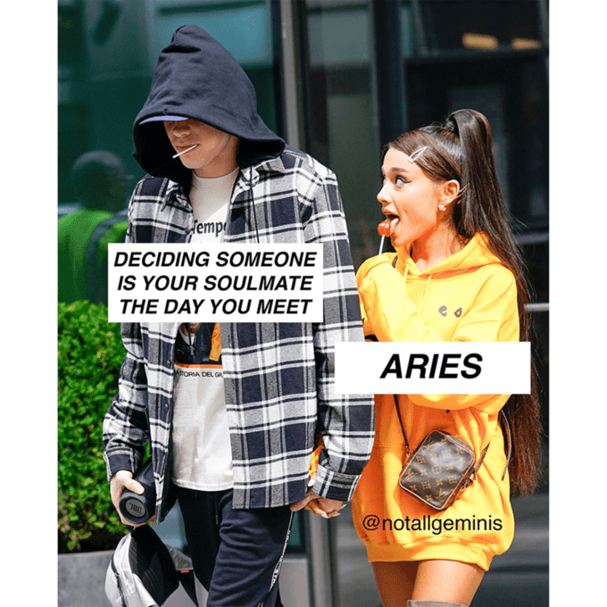 """Meme of Ariana Grande licking a lollipop, where she represents 'Aries' and Pete Davidson represents """"Deciding someone is your soulmate the day you meet"""""""