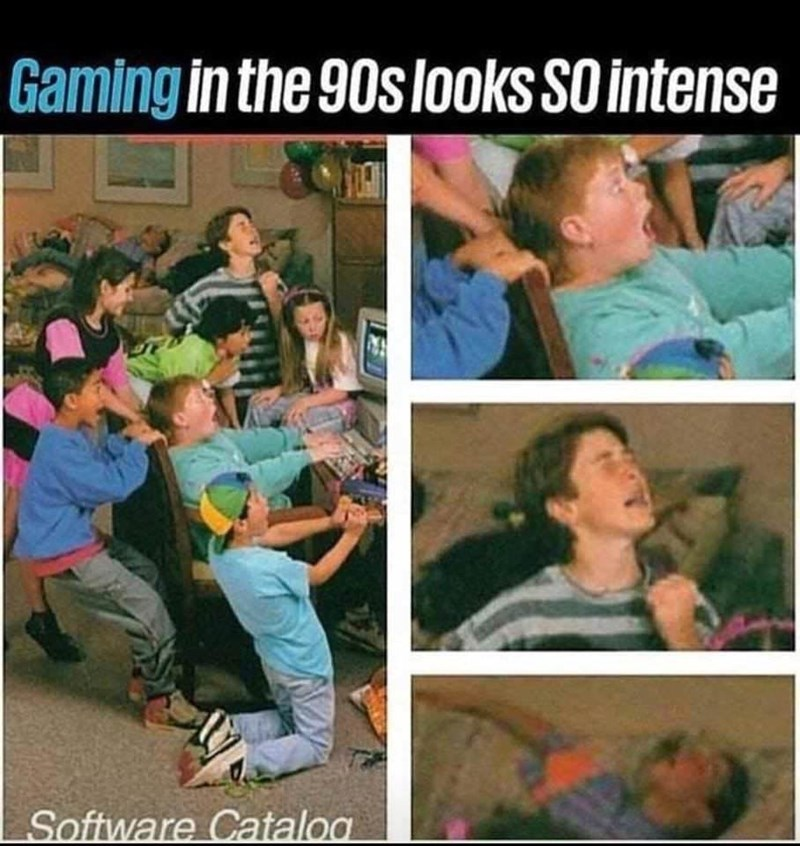 "Caption that reads, ""Gaming in the '90s looks SO intense"" above a stock photo of a bunch of kids yelling around a computer"