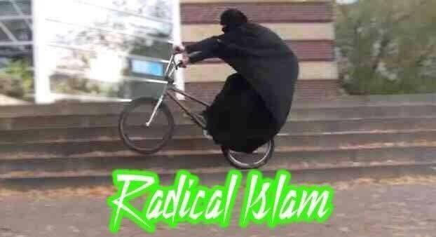 bike meme of burqa wearer riding a bmx style bike with graffiti font caption Radical Islam
