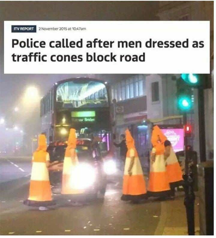 meme of men dressed as traffic cones and headline about how the police got involved