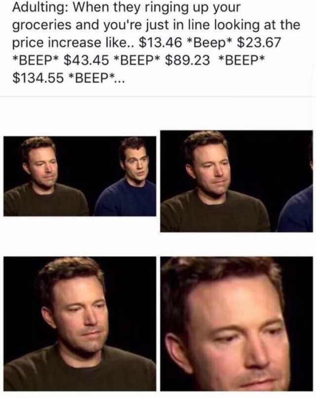 Ben Affleck meme about shopping and watching the price go up