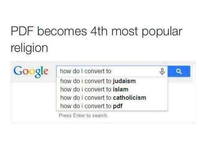 old meme about pdf being a religion according to google search