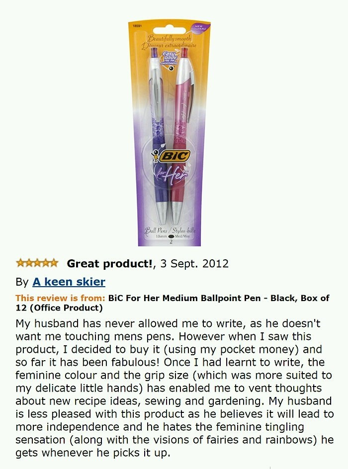 Amazon review of woman ordering HER pen from bic, with very dry undertones