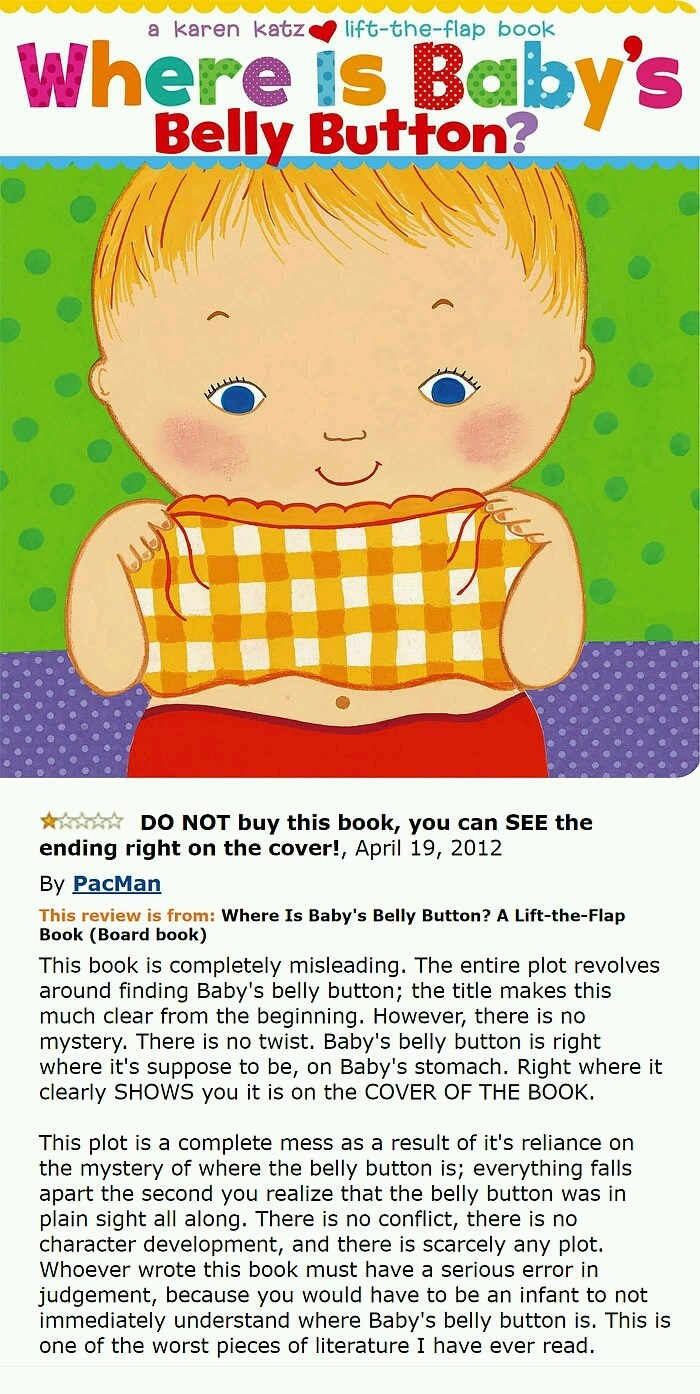 """Children's book entitled """"Where is Baby's Belly Button"""" with the complaint that it shows right on the cover where it is"""