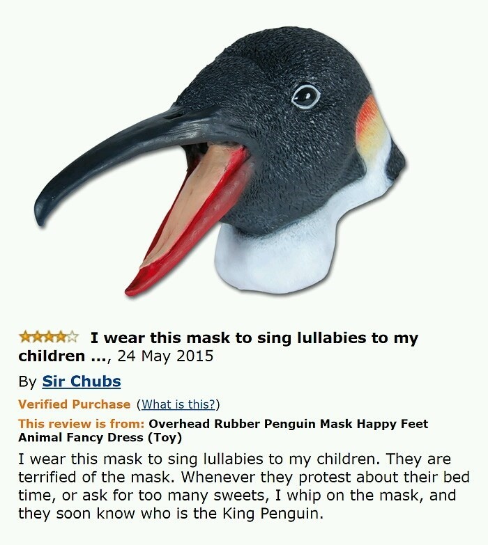 funny amazon review of a terrifying penguin mask that someone jokes they wear to sing lullabies to their children and other scare tactics to discipline them