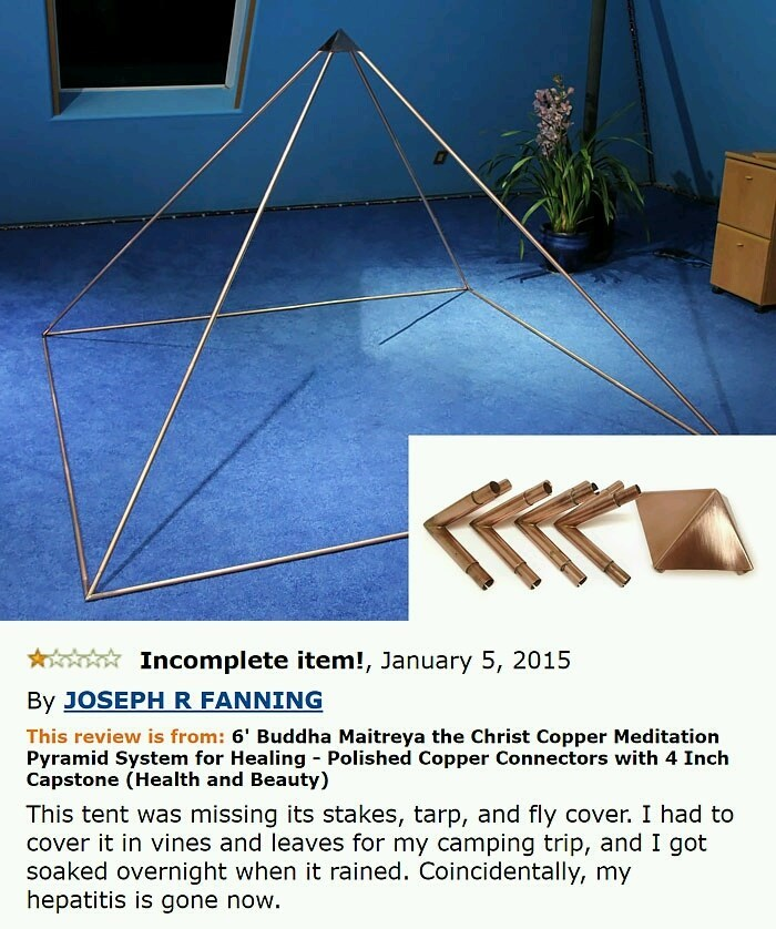 Copper pyramid Amazon review meme