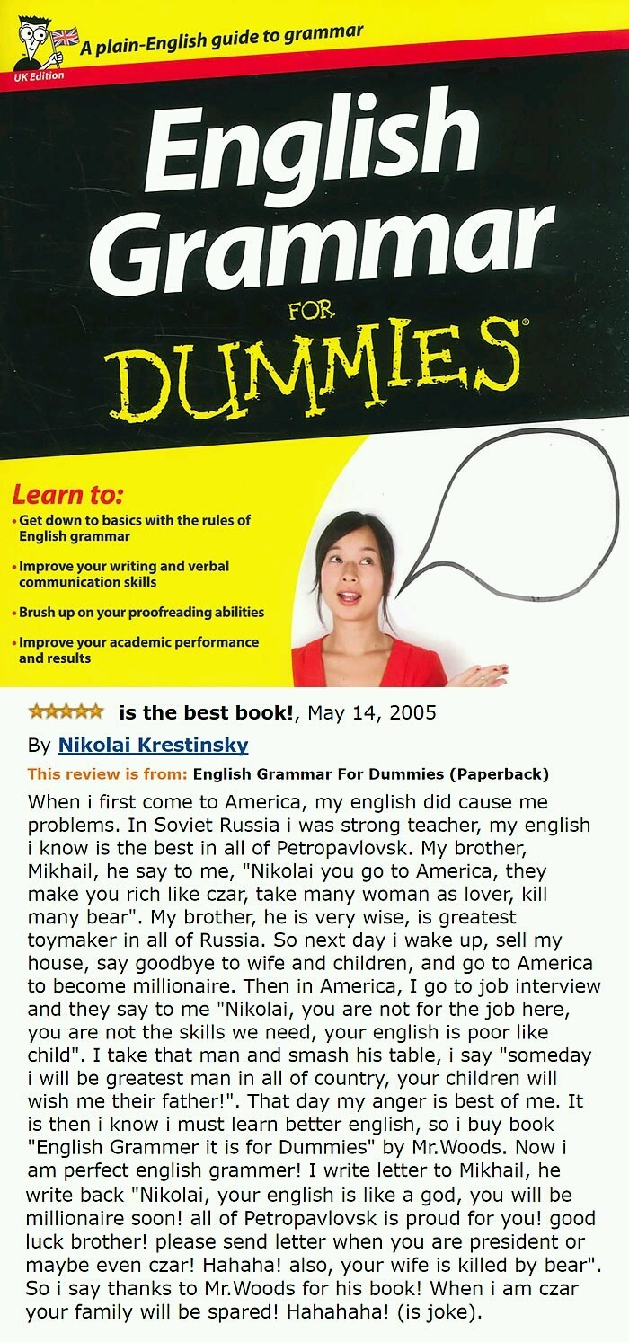 funny Amazon review of English Grammar for Dummies by Russian who wants to be czar