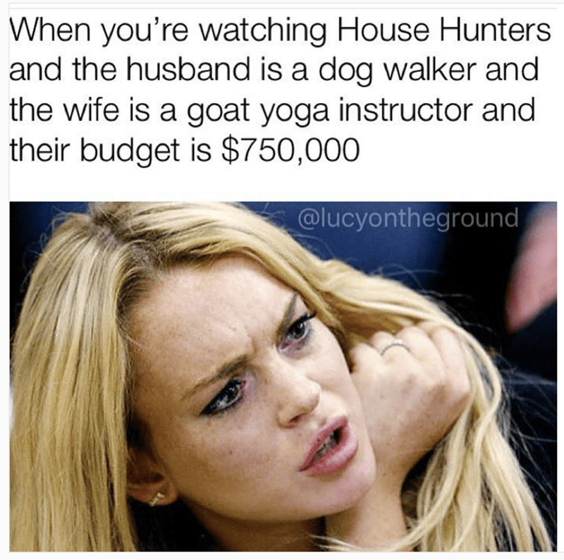 funny meme - Hair - When you're watching House Hunters and the husband is a dog walker and the wife is a goat yoga instructor and their budget is $750,000 @lucyontheground
