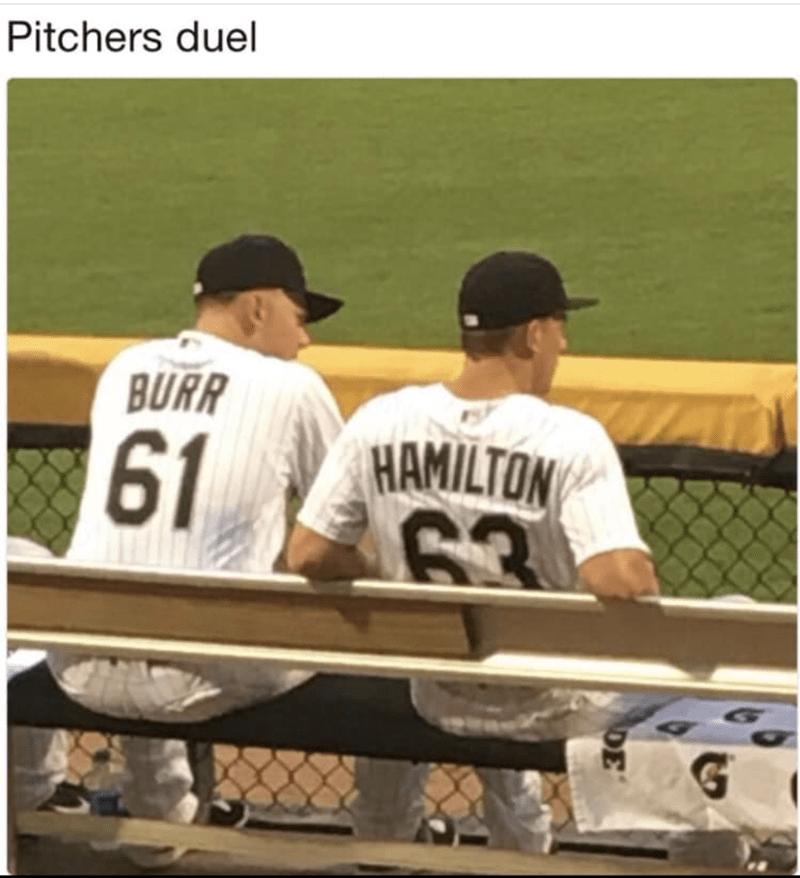 funny meme - Baseball player - Pitchers duel BURR 61 HAMILTON 63 G DE