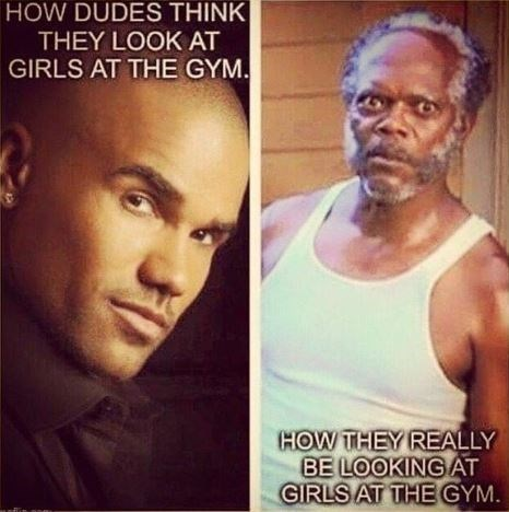 meme about guys checking out girls at the gym with pic of Samuel L Jackson looking deranged