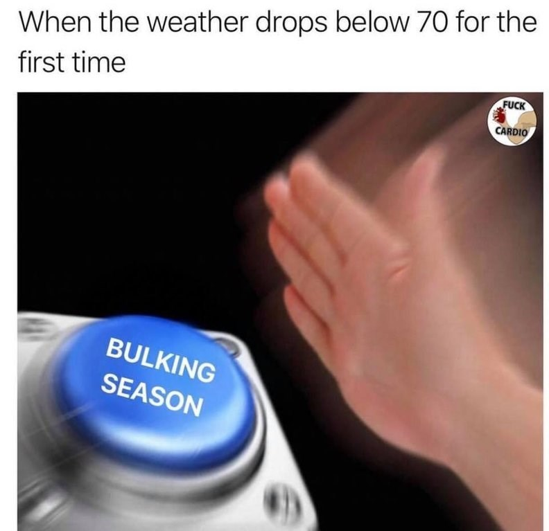 nut button meme about gaining fat when the weather is colder