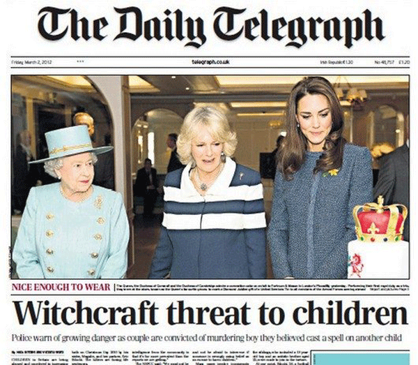 Photo caption - The Daily Telegraph tlegraph.cok ne pu13 No41 EI20 rr Mrh 2,012 NICE ENOUGH TO WEAR Witchcraft threat to children Pdice warn of growing danger as oouple are convicted of murdering boy they believed cast a spell on another child