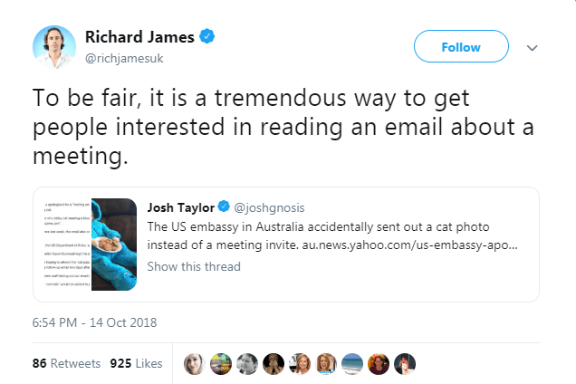 Text - Richard James Follow @richjamesuk To be fair, it is a tremendous people interested in reading an email about a meeting. way to get Josh Taylor @joshgnosis The US embassy in Australia accidentally sent out a cat photo instead of a meeting invite. au.news.yahoo.com/us-embassy-apo... Spo re Show this thread www 6:54 PM - 14 Oct 2018 86 Retweets 925 Likes