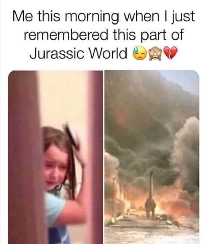 crying meme about dinosaur stuck in burning world