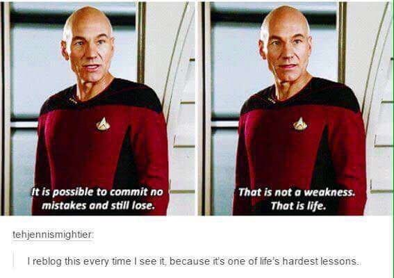 Jean-Luc Picard meme about making mistakes and still losing