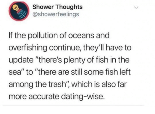 "Text - Shower Thoughts @showerfeelings If the pollution of oceans and overfishing continue, they'll have to update ""there's plenty of fish in the sea"" to ""there are still some fish left among the trash"", which is also far more accurate dating-wise."