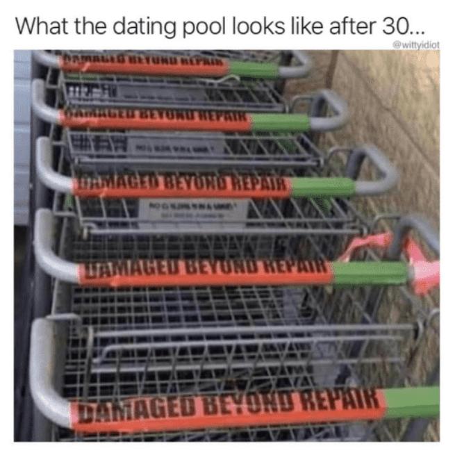 Metal - What the dating pool looks like after 30.. @wittyidiot MAL BETUND REPAIR ARGED AUREPAIR AMAGED BEYON0 REPAIR NOGK LTAMAGED BEY UND HEPA AVA DAMAGED BEYOND REPAIR