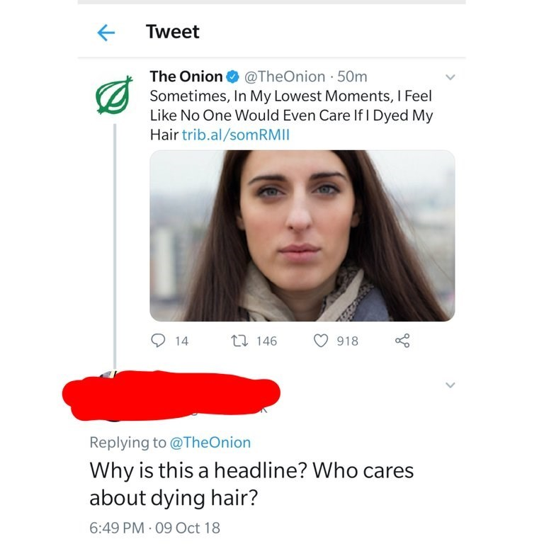 Face - Tweet The Onion Sometimes, In My Lowest Moments, I Feel Like No One Would Even Care If I Dyed My Hair trib.al/som RM I @TheOnion 50m t 146 14 918 Replying to @TheOnion Why is this a headline? Who cares about dying hair? 6:49 PM 09 Oct 18