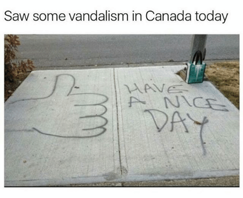 Text - Saw some vandalism in Canada today HAVE ANICE VAY