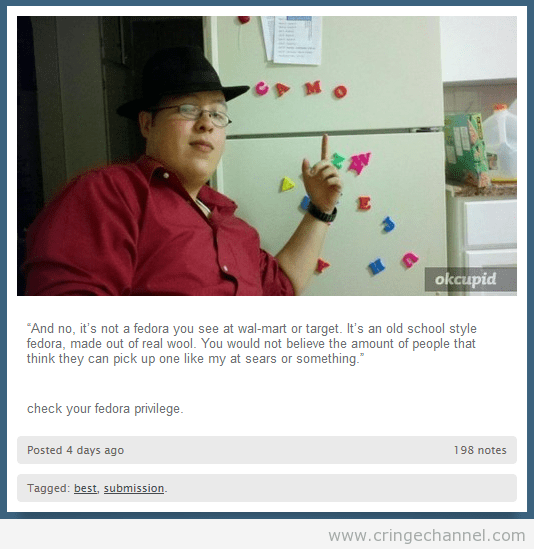 Pic of a guy wearing a fedora, saying that it's an old-school style fedora that you can't find at WalMart