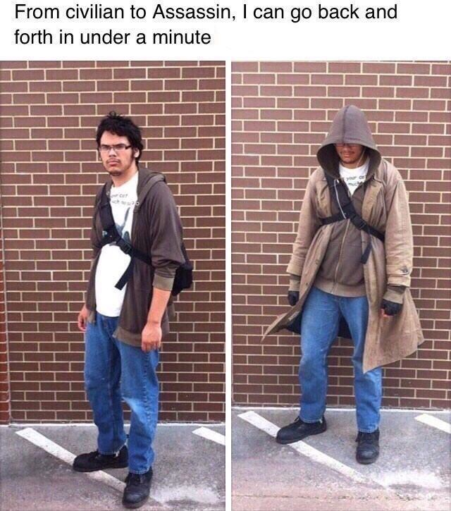"""Caption that reads, """"From civilian to assassin, I can go back and forth in under a minute"""" above pics of a guy looking normal and one of him wearing a large jacket and looking creepy"""