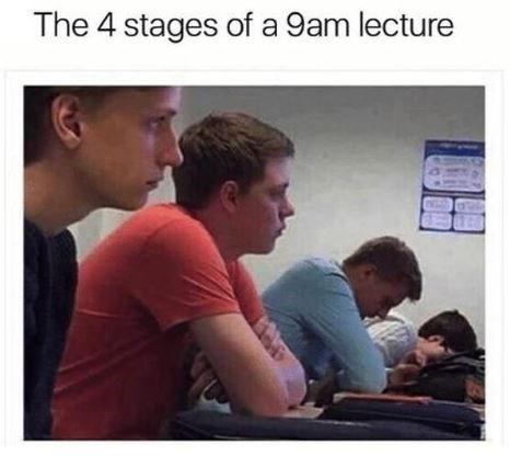 Human - The 4 stages of a 9am lecture