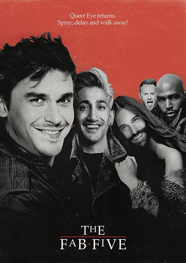 Album cover - Queer Eye returms. Spray, delay and walk away! THE FAB FIVE