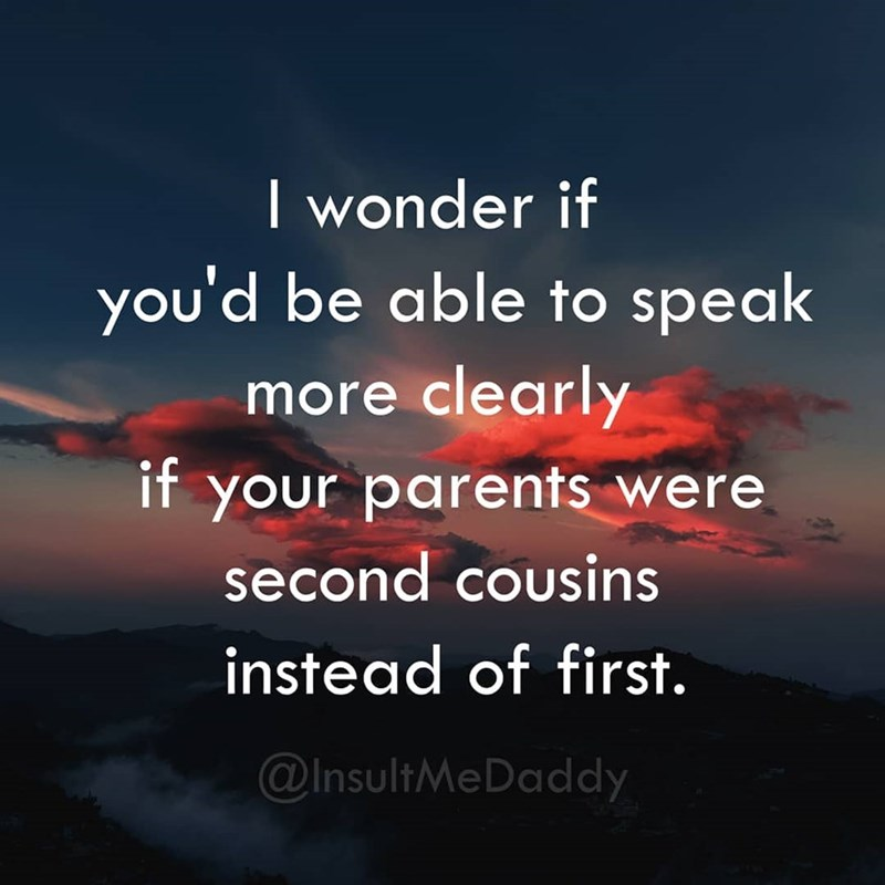 Sky - wonder if you'd be able to speak more clearly it your parents were second cousins instead of first. @InsultMeDaddy