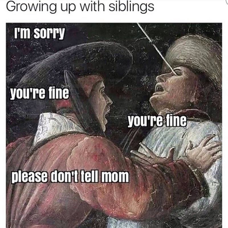 classical arts meme of getting hit in the eye with an arrow and sibling begging you not to tell mom