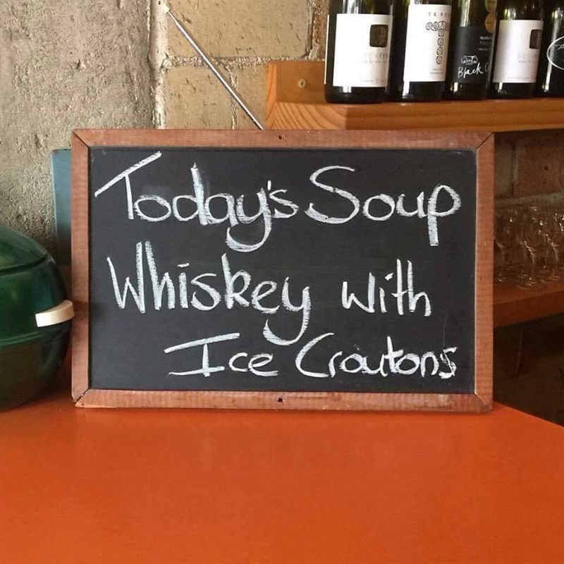 Blackboard - FEN Bhck aday's Saup Whiskey with Ice Crautons